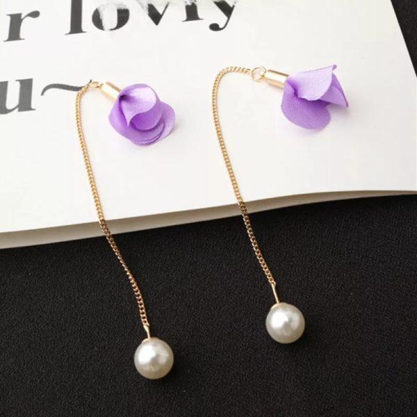 Earrings-Long-Tassel-Flower