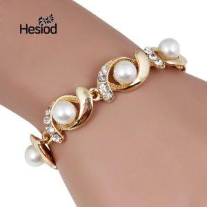 Pearl Bracelet Bangle With Silver Adjustable Gold Color