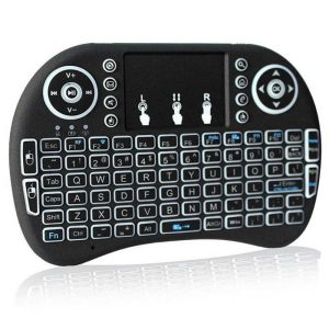 Mini Keyboard With Touchpad Mouse & Backlit Wireless Air Mouse – Black Multimedia Keys